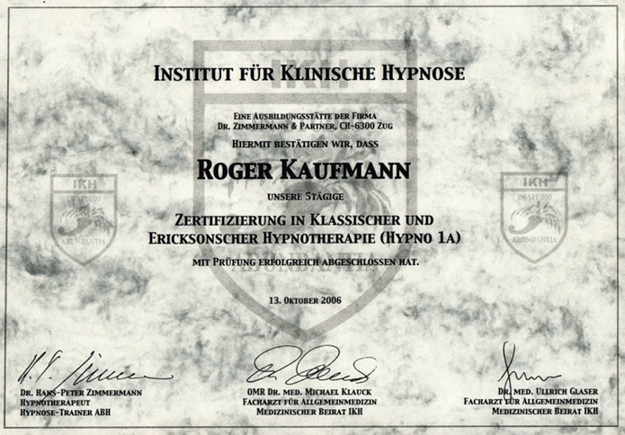 Hypnose Ausbildung Roger Kaufmann