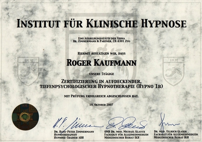 Hypnose-Ausbildung Roger Kaufmann