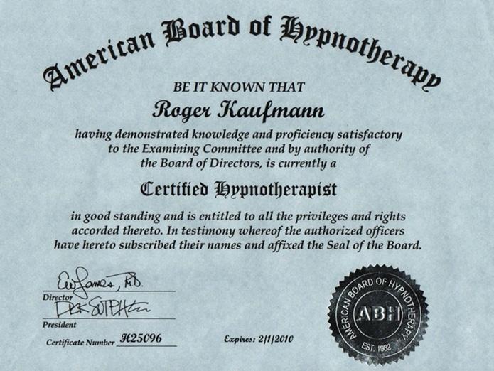 """Zertifikat """"Hypnosetherapeut"""""""