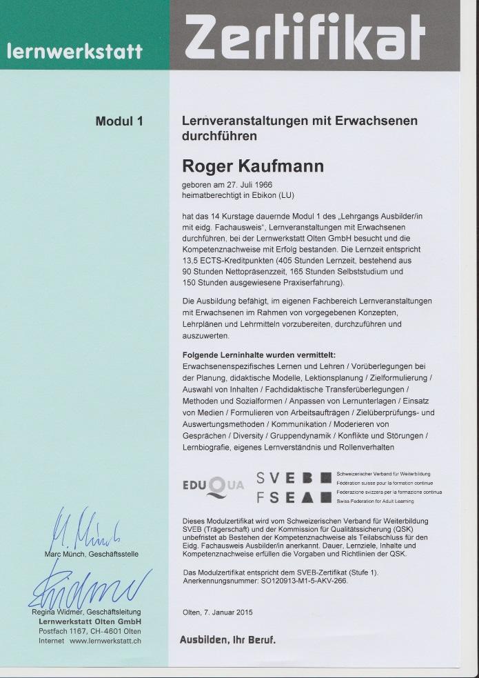 """Roger Kaufmann Zertifiziert """"Lernveranstaltungen mit Erwachsenen durchführen"""